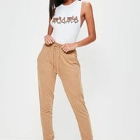 Missguided - Camel Drawstring Waist Joggers