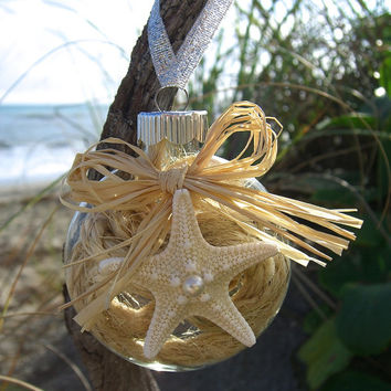 Starfish Holiday Christmas Ornament-NATURAL-Holiday Ornament, Beach Home Decor, Mermaids, Ornaments, Stocking Stuffer, Christmas Decor