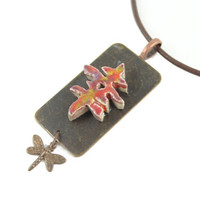 Japanese Symbol for Happiness Necklace - Handmade Ceramic Pendant - Unique Necklace