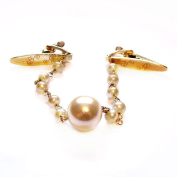 Vintage Sweater Clips / Guards, Gold Pearl Chain