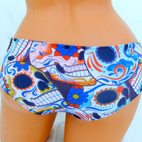 Sugar Skull Day Of the Dead bikini boyshort swim bottoms or panties