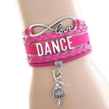 NEW ARRIVED Love Dance to Infinity and Beyond Bracelet Dancer Wrap Bracelet Hot Pink Black Friend Gift Suede Leather Bracelet