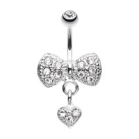 Dangle Heart Bow-Tie Belly Button Ring Navel Ring Body Jewelry