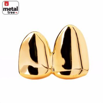 Jewelry Kay style Men's Hip Hop Fashion Bling Double Cap 14k Gold Plated Grillz Plain Two Teeth G