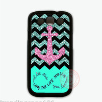 Personalized Live Love Life Mint Chevron Pink Anchor Samsung Galaxy S3 S4 Case