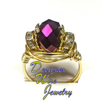 DWJ0247 Stunning Faceted Raspberry Crystal Gold Wire Wrap Ring All Sizes