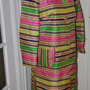 60s Dress, Coat, Outfit, Green, Pink, Stripes, Silk, 2 Piece, Custom Made, Small