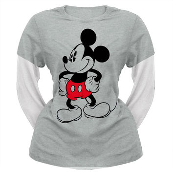 Mickey Mouse - Standing Juniors 2Fer Long Sleeve T-Shirt
