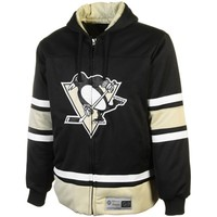 Pittsburgh Penguins Color Blocked Full Zip Hooded Jacket - Black/Gold