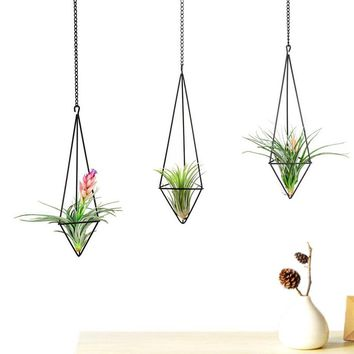 Mkono Air Plant Holder Hanging Planter Pot Geometric Himmeli for Tillandsia Airplants Indoor Decoration with Chains, Black