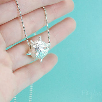 Petit prince inspired asteroid necklace - Quirky jewelry for women - Silver asteroid necklace - Sea urchin necklace - Silver necklace