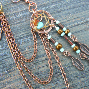 ONE copper and turquoise dreamcatcher chained ear cuff turquoise czech beads cuff in boho gypsy hippie hipster native and tribal fusion