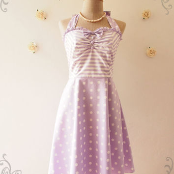 The Circus Party Dress - Pastel Purple Dress Lavender Dress Halter Dress Vintage Sun Dress Bridesmaid Dress Fancy Tea Dress ,XS-XL, Custom
