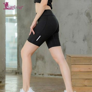 Lurehooker Women Breathable Solid Sport Shorts High Waist Quick Dry Polyester yoga Shorts Elastic Waist Fitness Running Shorts