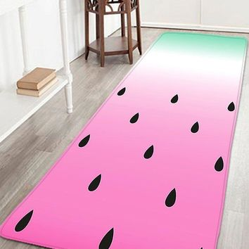 Bathroom Flannel Antiskid Watermelon Rug