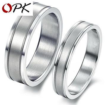 OPK Romantic Dull Polished Wedding Rings For Lover Free Laser Engraving Name Stainless Steel Engagement Couple Bands  GJ336