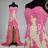 2014 Hi-lo Pink Lace Satin Prom Dress Evening Party Homecoming Bridesmaid Cocktail Formal Dress New Arrival Lovely Bridesmaid Dress
