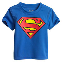 2016 Cartoon Printing Superman Short Sleeve T-Shirts Fashion Cotton Children Kids Baby Girls Boys T Shirts Tops Child Clothing