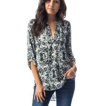 Grey Abstract Print Tunic Top