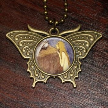 Mermaid Necklace, Pelican Jewelry, Beach Lover, Mythology, Bronze Butterfly Pendant