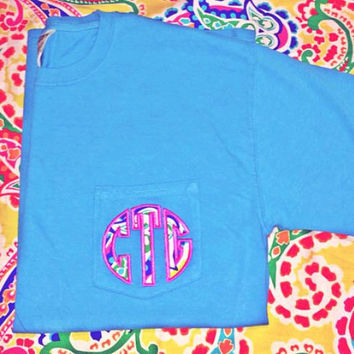 Ladies monogrammed pocket tee shirt ladies paisley monogram tshirt monogrammed pocket  comfort colors monogrammed pocket tee