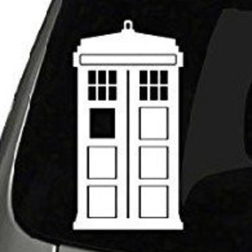 "CMI170 Doctor Who Tardis Car Window Vinyl Decal Sticker 5"" Tall (Color: White)"