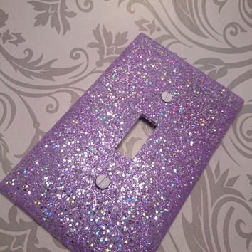 Lavender with Silver Holographic Opal & Light Purple Glitter /Bling Light Switch Plates, Outlet Covers, Rockers /Sparkly Custom Kawaii Décor