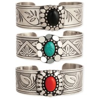 Silver Floral Etched & Stone Cuff Bracelet