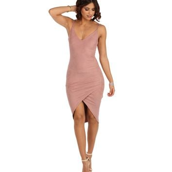 Mauve Wrap Me In Your Arms Suede Dress