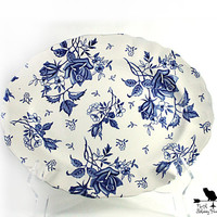 J & G Meakin Blue Tudor Roses Platter, Vintage Blue Transferware, Shabby Tableware or Home Decor