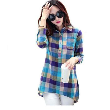 Oioninos New Fashion women plaid shirt Collar long sleeve casual women shirt