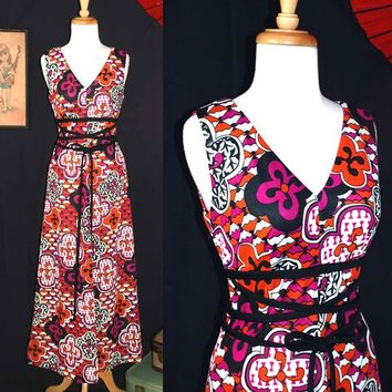 Vintage 70s Psychedelic Corset Laced Maxi Dress