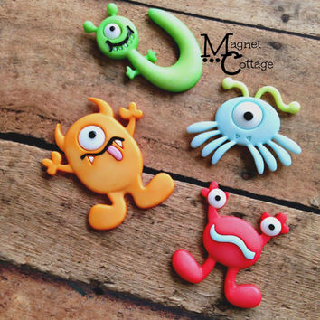 magnet, monster birthday, monster party, boy monster, little monster birthday, blue monster, green monster, yellow monster, fridge magnet