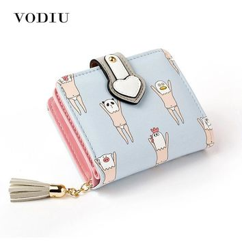 2017 Korean Cute Anime Cat Leather Trifold Hasp Mini Wallet Women Small Clutch Female Purse Brand Coin Card Holder Dollar Price