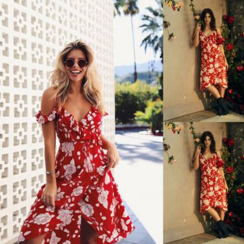 Fashion Flower Print Frills V-Neck Short Sleeve Backless Strap Maxi Dress