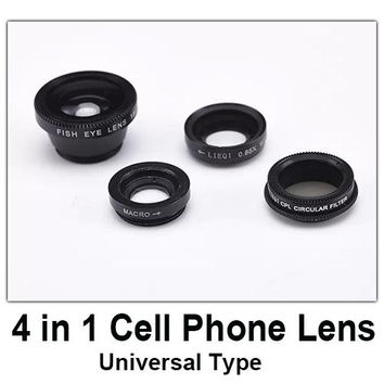 good quality 4 in 1 mobile phone lens kit cell phone fish eye lens macro wide angle lens cpl circular filter universal type