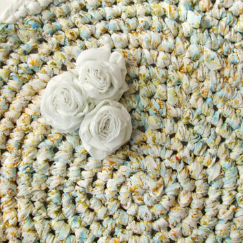 Custom Crochet Rug Upcycled Cotton Rolled Roses by KingSoleil