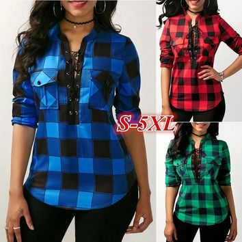 Plus size Women's Fashion Casual V-neck Lace Up Plaid Blouse Tops Irregular Loose Sexy Woman V-neck Shirt