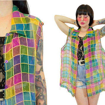 vintage 90s sheer plaid tank top 100% SILK slouchy cyber grunge club kidd colorblock mesh tshirt duster jacket vest large xl