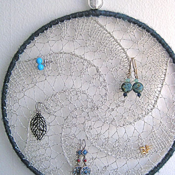 Earring Holder Display / Jewelry Organizer Stud Post & Dangle / Dreamcatcher - Silver w/ Dark Blue Shimmer Border Wrapping