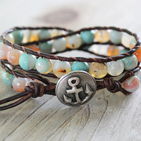 Leather Beaded Wrap Bracelet - Beach Jewelry - Anchor Jewelry - Boho Surfer Chic - Bohemian - Summer Jewelry