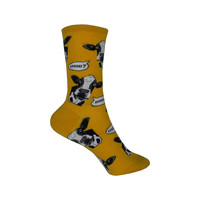 Cow-Versation Crew Socks in Gold
