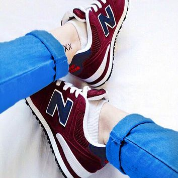 New Balance Casual running shoes Sports shoes Z-Letters Classic Sneakers Burgundy