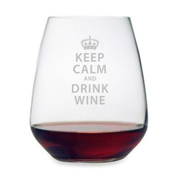 "Etched Novelty Barware ""Keep Calm and Drink Wine"" Stemless Wine Glass"