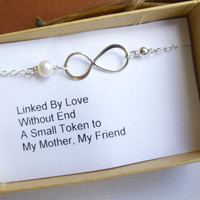 Mother's Infinity Bracelet With Gift Message -- 925 Sterling Silver with Freshwater Pearl -- Mother of the Bride -- Mother's Day