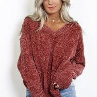 The Routine Dark Ginger Chenille Sweater