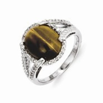 Sterling Silver Tiger's Eye and Diamond Ring