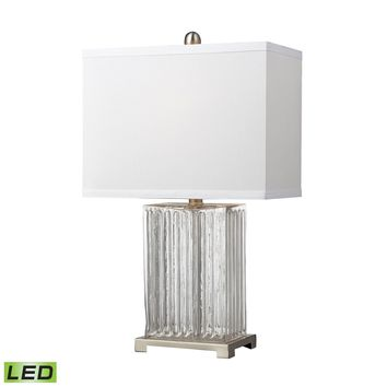 D140-LED Ribbed Clear Glass LED Table Lamp in Brushed Steel