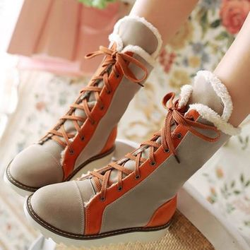 New Beige Round Toe Flat Patchwork Cross Strap Fashion Mid-Calf Boots