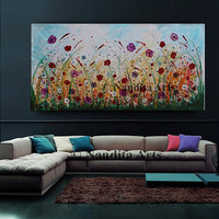 """Large Floral Painting, 72"""" Wildflower Wall Art, Original Flower Landscape Art, Multicolored Heavy Texture Modern Art on Canvas by Nandita"""